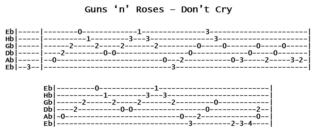 Guns n Roses - Don't Cry (Tab)
