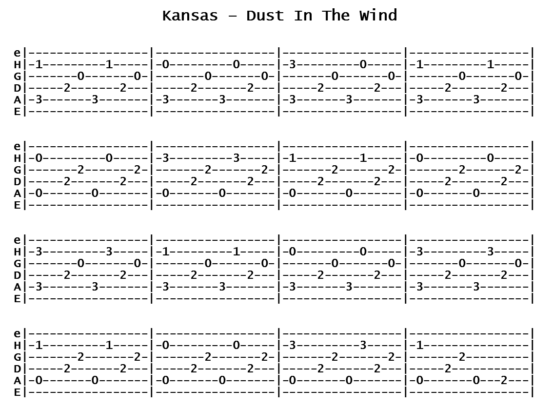 Kansas - Dust In The Wind (Tab)
