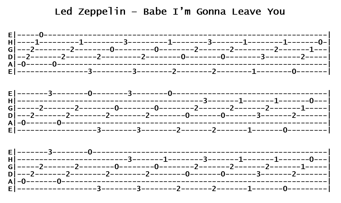 Led Zeppelin - Babe I'm Gonna Leave You (Tab)