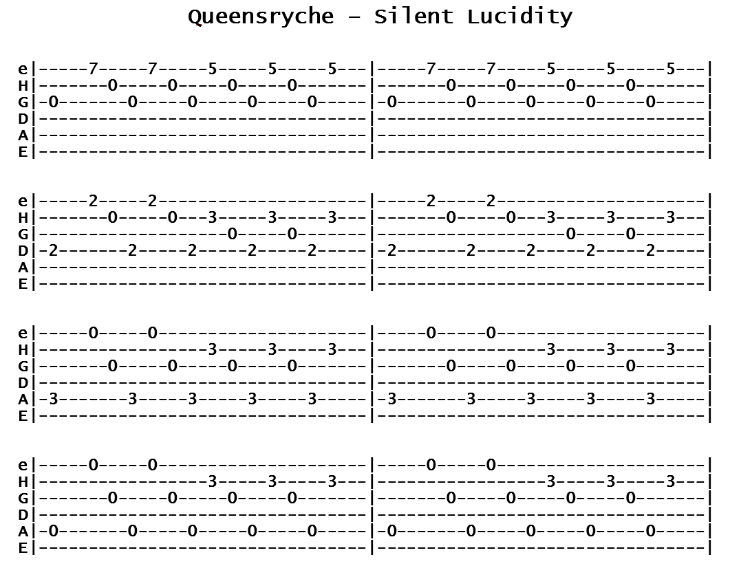 Queensryche - Silent Lucidity (Tab)