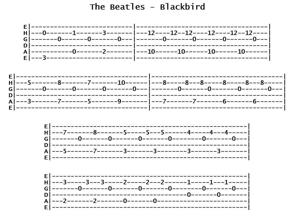 The Beatles - Blackbird (Tab)