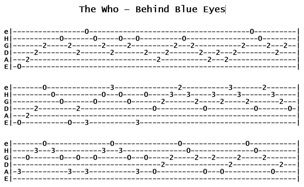 The Who - Behind Blue Eyes (Tab)