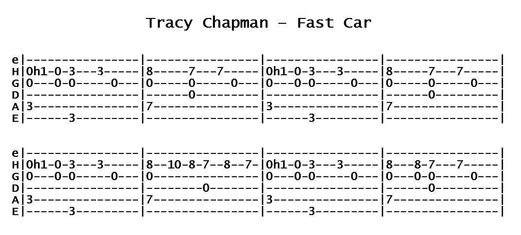 Tracy Chapman - Fast Car (Tab)