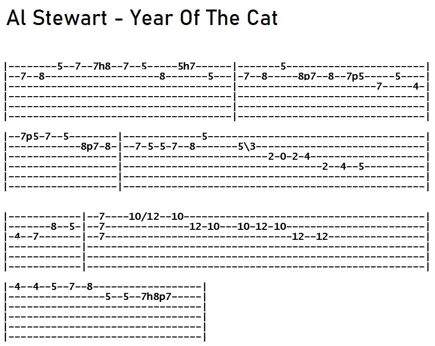 Al Stewart - Year Of The Cat Solo Tab