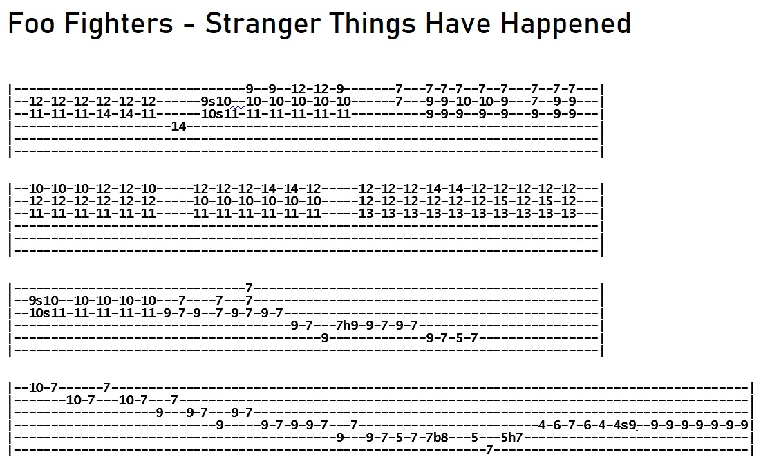 Foo Fighters - Stranger Things Have Happened Solo Tab