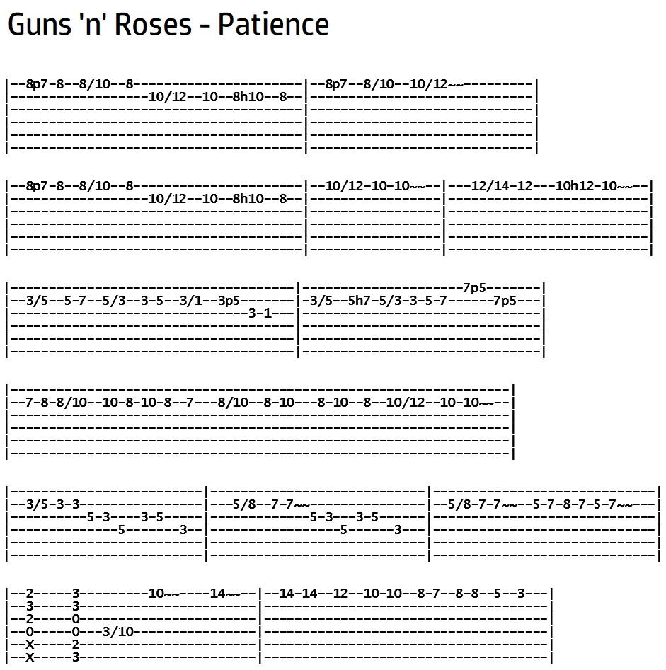 Guns n Roses - Patience Solo Tab