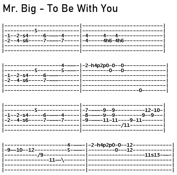 Mr. Big - To Be With You Solo Tab