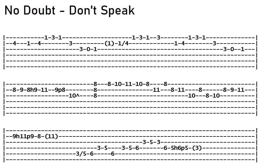 No Doubt - Dont Speak Solo Tab